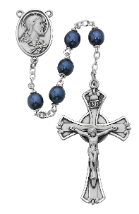 BLUE METALLIC GLASS ROSARY