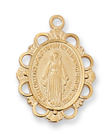 "Gold Over Sterling Silver Miraculous Medal, 18"" Chain"