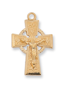 "Gold/Sterling Silver Celtic Crucifix,18"" Chain"