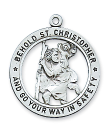 "Sterling Silver St. Christopher Medal, 24"" Chain"