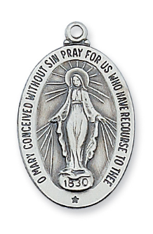 "Sterling Silver Miraculous Medal, 20"" Chain"