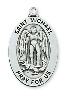 "Sterling Silver St. Michael Medal, 20"" Chain"