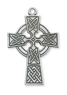 CELTIC STERLING SILVER CROSS WITH CHAIN