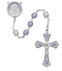 CAPPED WHITE GLASS ROSARY
