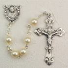 FAUX PEARL & STERLING SILVER ROSARY
