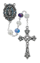 BLUE CRYSTAL & SILVER ROSARY