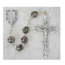 BLUE CLOISONNE STYLE ROSARY
