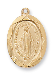 "Gold/Sterling Silver Miraculous Medal, 18"" Chain"