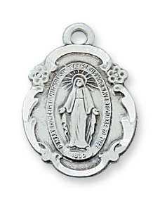 "Sterling Silver Miraculous Medal, 18"" Chain"