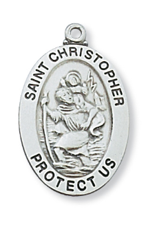 "Sterling Silver St. Christopher Medal, 20"" Chain"