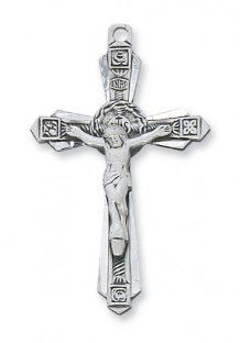 GOLD/STERLING SILVER TUTONE CRUCIFIX WITH CHAIN