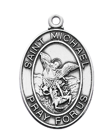 "Sterling Silver St. Michael Medal, 18"" Chain"