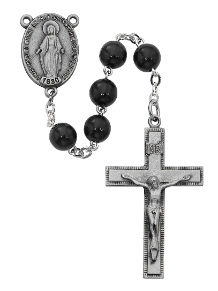 SILVER &  BLACK WOOD ROSARY