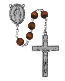 SILVER & BROWN WOOD ROSARY