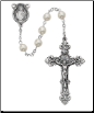 Pearlized Glass Rosary Boxed