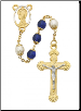 Blue and Pearlized Glass Rosary