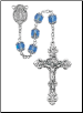 Blue Glass Capped Rosary