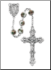 WHITE CLOISONNE STYLE ROSARY