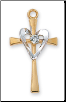 "G&S Heart/Cross W/Rhinestone Center, 18"" Chain"