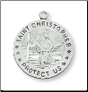 "Sterling Silver St. Christopher Medal, 18"" Chain"