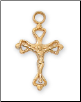 "Gold/Sterling Silver Crucifix, 16"" Chain"